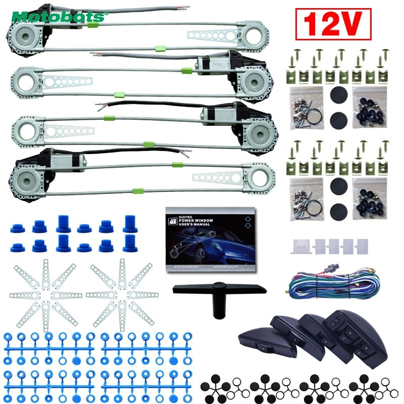 MOTOBOTS 1 Juego, Universal para coche/coche, 4 puertas, 8 unids/set, Moon Swithces con arnés, Cable electrónico, kits de ventana eléctrica DC12V