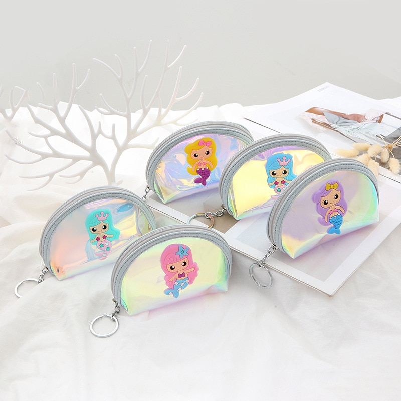 Meerjungfrau Design Laser Kleine Taschen Holographische Frauen PVC Münze Geldbörsen Mode Klar Gelee Handtaschen Mädchen Karte Halter Für Kinder Geldbörsen
