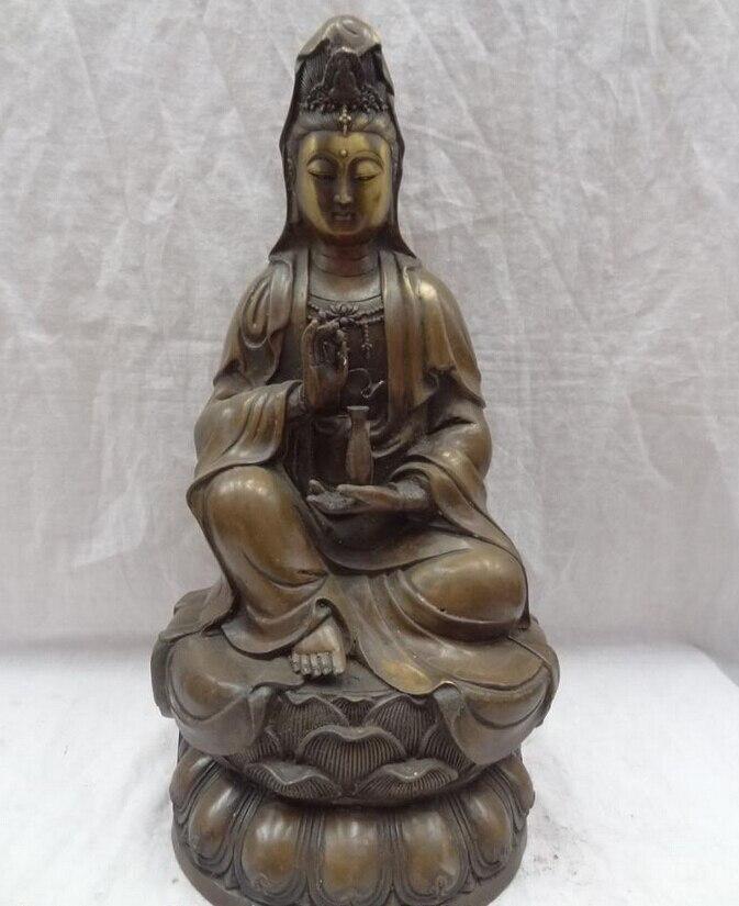 "Canción voge S2873 joya 17 ""de Bronce Chino Budista Lotus Kwan-yin Diosa Quan Yin Pot Estatua de Buda"