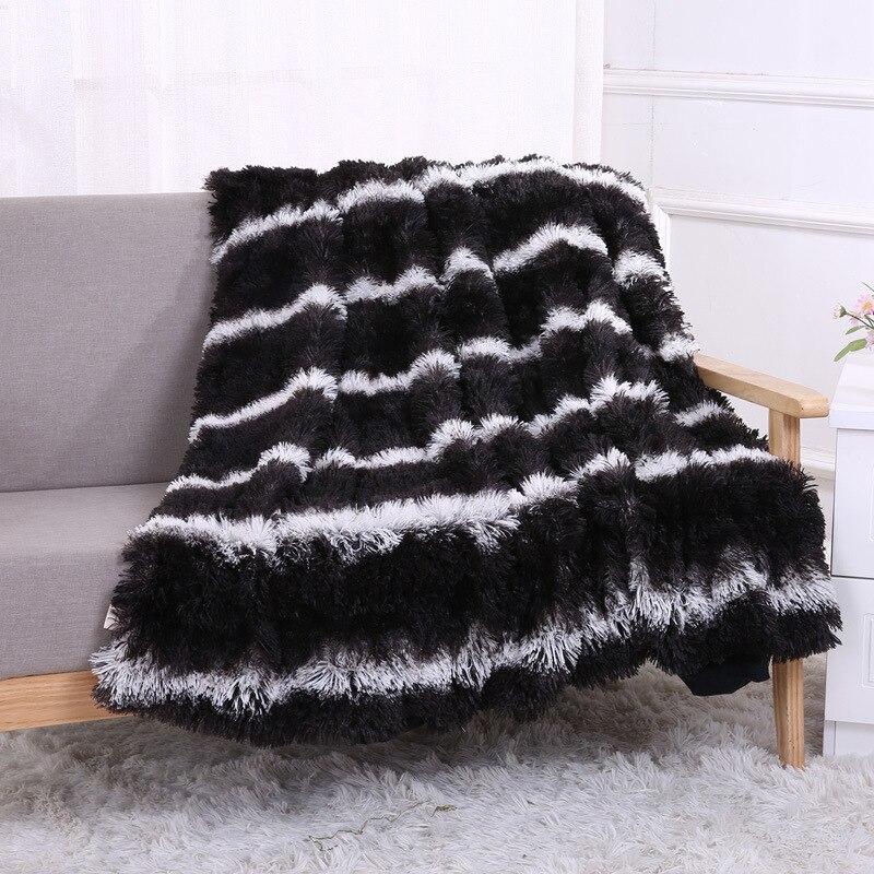 Couvertures molletonnées à rayures en peluche   Livraison directe, couvertures en laine pour lits, chaudes et confortables, climatisation, couverture jeter, Manta, Plaids roses, housse de lit de canapé