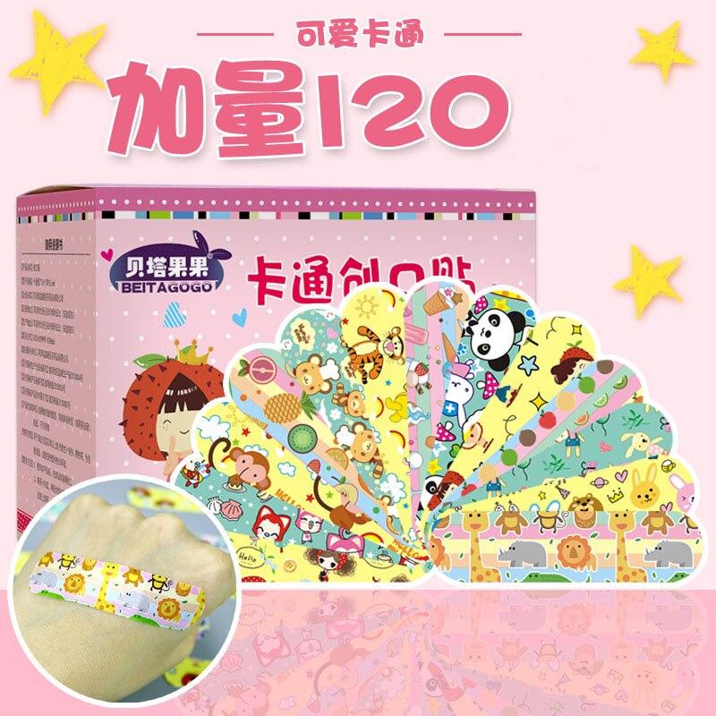 120 sztuk Super torba wodoodporna oddychająca Cute Cartoon plaster hemostazy plastry z gazą apteczka pierwszej pomocy dla dzieci