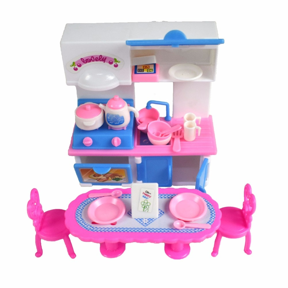 20 Pcs/ Set Dolls Dining Table Kitchen Furniture Dinnerware Cabinets Doll Tableware Accessories Girl Toys for Doll Accessories