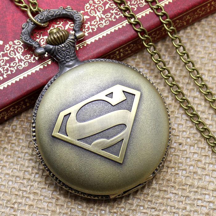 Free Shipping Antique Bronze Superman Mark Design Pocket Watch With Chain Best Gift For Men/Women/Boys/Girls