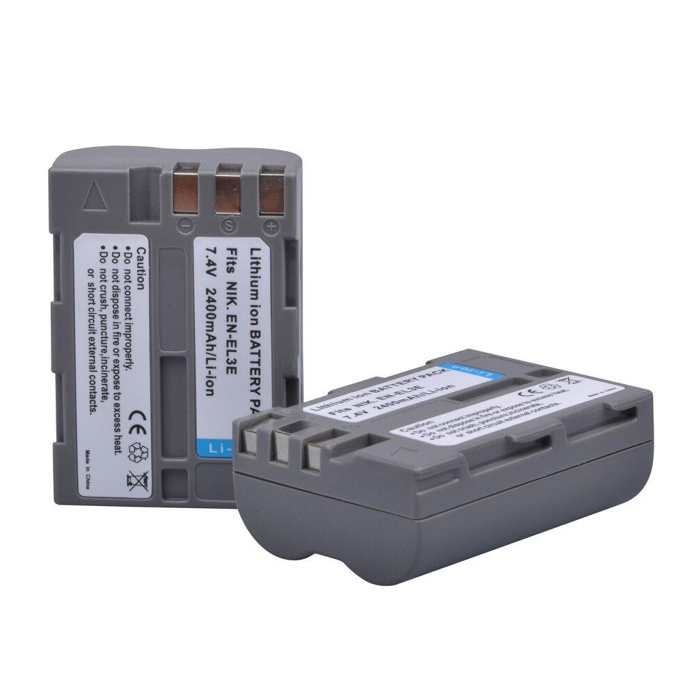 2 шт. 2400 мАч EN-EL3e EN EL3e ENEL3e EL3E Аккумуляторы для Nikon D30 D50 D70 D70S D90 D80 D100 D200 D300 D300S D700 цифровая камера