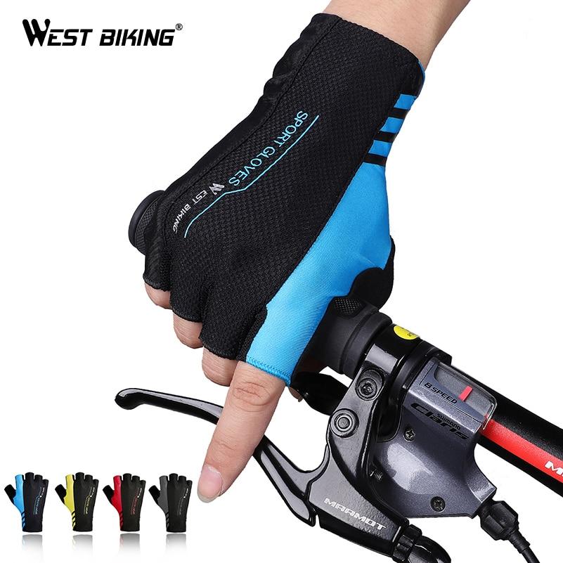 WEST BIKING Summer Cycling Gloves Half Finger Men Women Shockproof Breathable Bicycle Gloves Ciclismo MTB Road Bike Gloves
