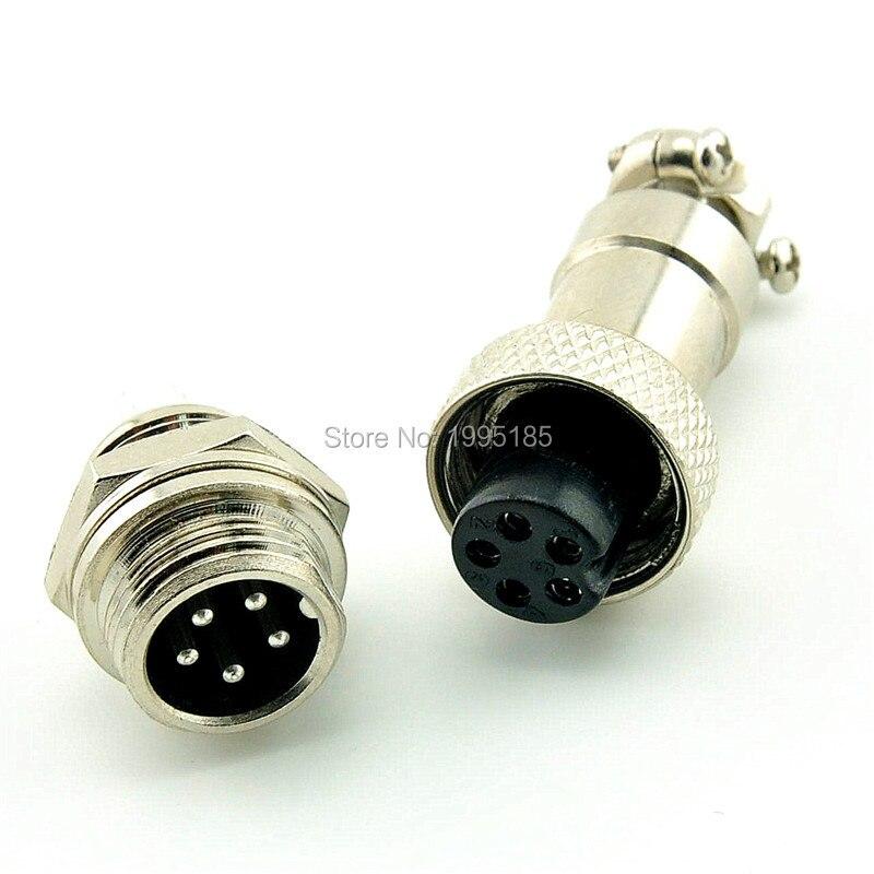 5Pcs GX12 5 Pin Male & Female 12mm Wire Panel Connector Aviation Plug GX12 Circular Connector Socket Plug