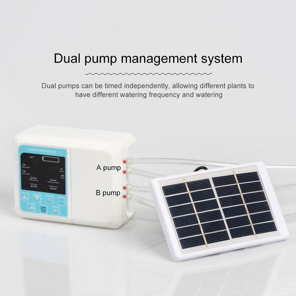 نظام ري يعمل بالطاقة الشمسية نظام التلقائي بالتنقيط الموقت حديقة جهاز الري مضخة مزدوجة ذكي مصنع المنقط بوعاء بالتنقيط الرش