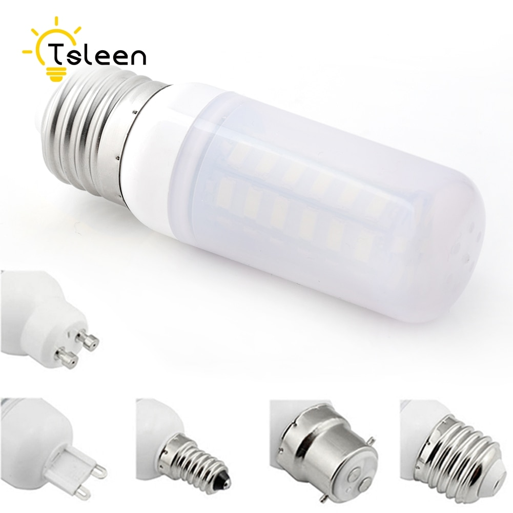 tsleen high quality 4014 smd no flicker led corn bulb e27 e14 220v led lamp light b22 g9 gu10 36 56 72 96 138leds smart power ic TSLEEN 10x High Bright 5730 SMD E27 G9 LED Corn Lamp Bulb E14 B22 GU10 Milky White 110V 220V 7W 9W 12W 15W 20W 25W Led Light