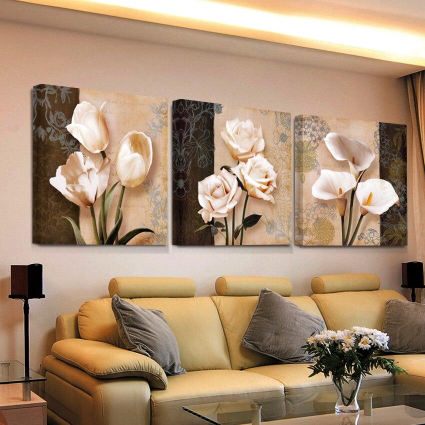 Lienzo de impresión HD barato y moderno para pared de salón, cuadros impresos, decoración de flores, tríptico modular