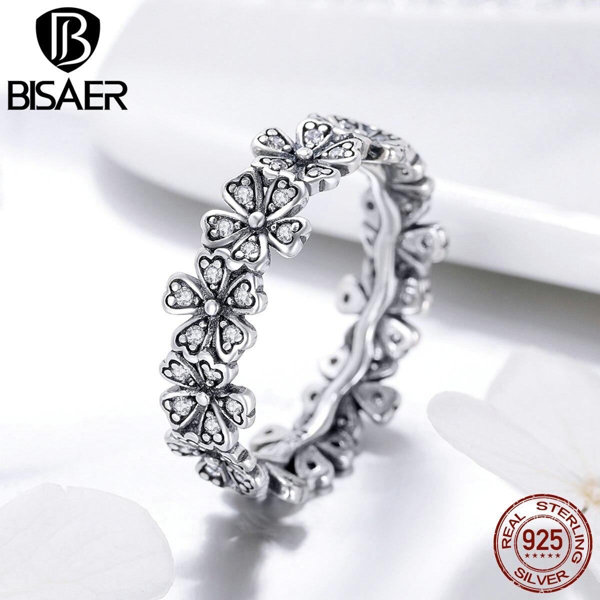 Plata de Ley 925 auténtica BISAER, anillos florales para bodas con Margarita romántica para mujer, anillo de moda para dedo, joyería de compromiso ECR397