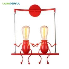 Modern Iron Wall Lamp Children's Creativity LED Wandlamp for Bedroom Dining Room Bedroom Black/White/Red Wall Lights