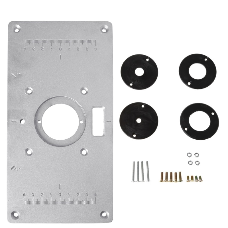 2018 New Aluminum Router Table Insert Plate w/ 4 Rings Screws For Woodworking Benches Drop Shipping Support