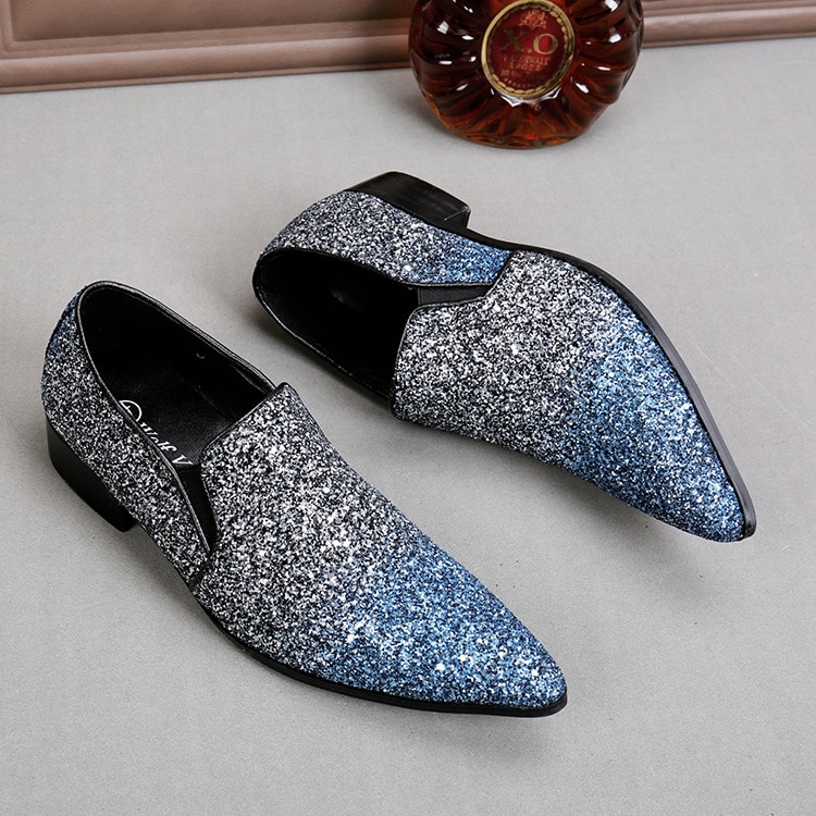 Men Sequined Slip-on Flats Glitter Men Business Dress Shoes Men Pointed Casual Blue/white Leather Shoes
