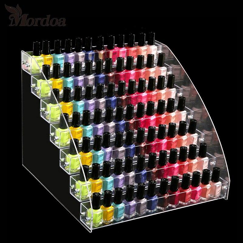Organizador de exhibición de esmalte de uñas acrílico 2-3-4-5-6-7 capas manicura cosméticos soporte para presentación de joyería titular caja de maquillaje de acrílico transparente
