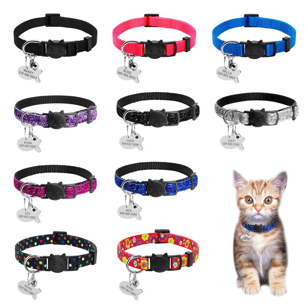 Ошейники для кошек, быстро снимающийся ошейник для котенка, индивидуальный ошейник для кошек, ожерелье с колокольчиком для кошки, котенка, щенка