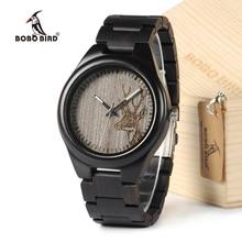 Montres BOBO BIRD I26 pour hommes uniques en bois débène, cadran à tête de cerf, montres-bracelets à Quartz décontractées avec liens en bois dans la boîte de montre cadeau