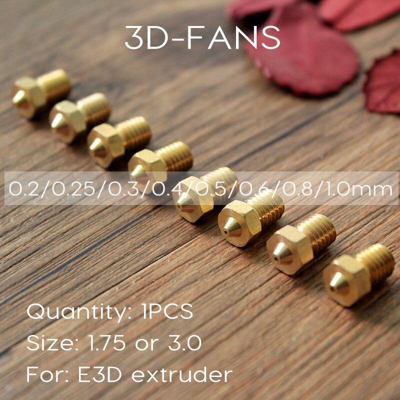 1 Pcs E3DV6 Messing Düse 0,2/0,25/0,3/0,4/0,5/0,6/0,8/1,0 für 1,75mm 3mm Filament E3D V6 V5 Kupfer Düse Extruder Druckkopf