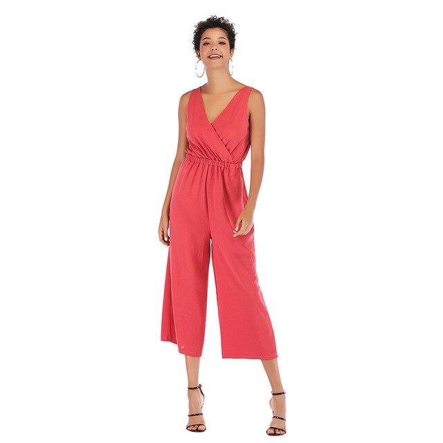 Mono para mujer mono sólido de la longitud del tobillo pantalones mamelucos Oficina mono Casual elegante Slim Mono para mujer