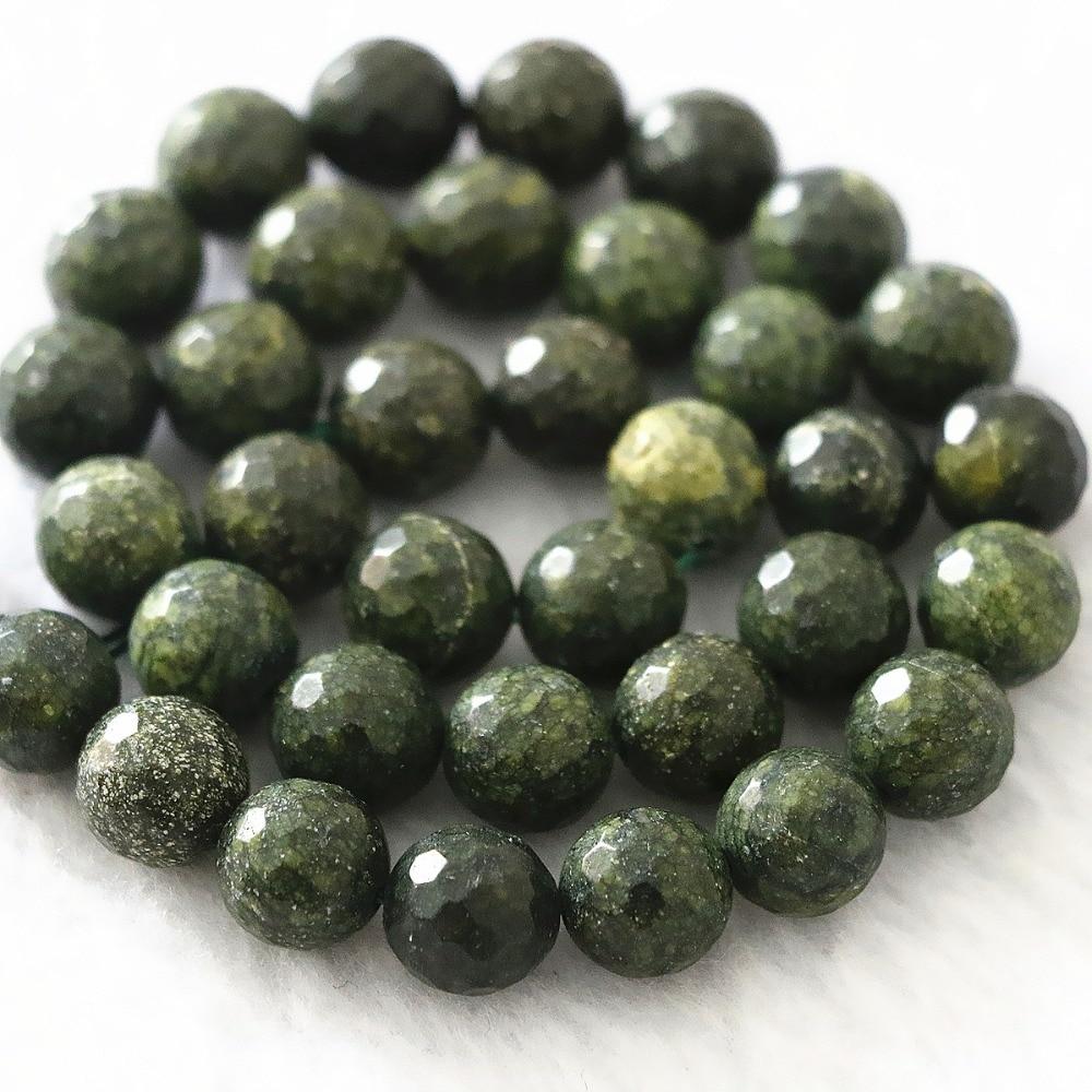 "Moda Verde Oscuro piedra natural 10mm encantador facetado redondo suelta cuentas classcial diy gran oferta joyería 15 ""B1095"