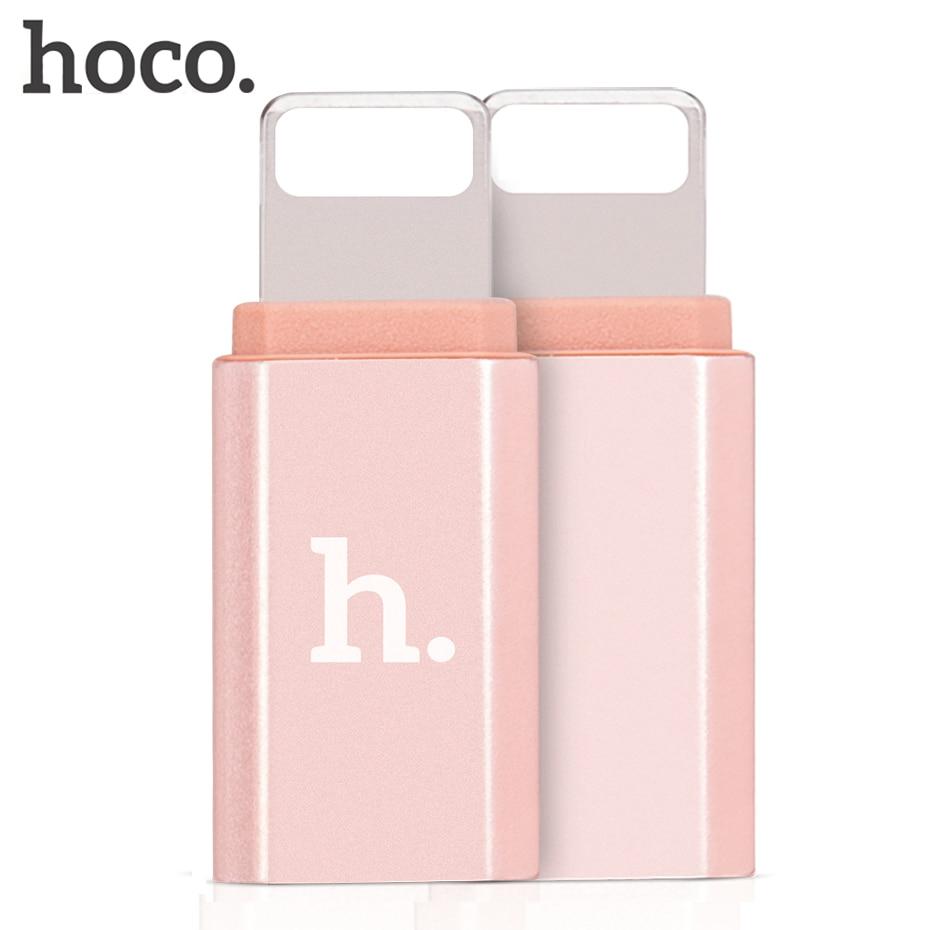 HOCO Micro USB A Lightning adaptador hembra a macho aleación de aluminio OTG Convertidor para iPhone 6 6s 7 8 Plus para el iPhone x 10 iPad
