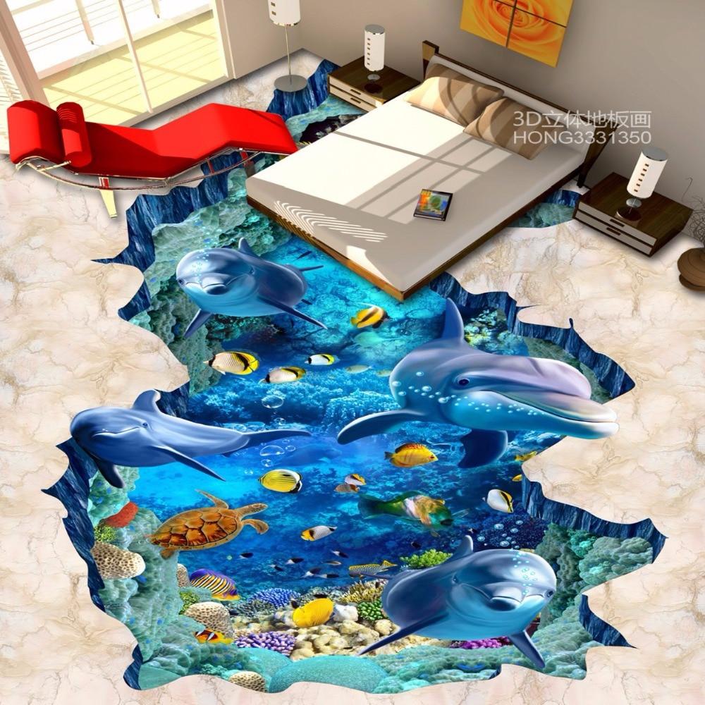 Free Shipping custom Dolphin under sea world floor mural children room school nursery waterproof floor wallpaper mural