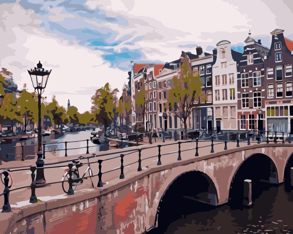 Pintura de paisaje de la calle del puente de Amsterdam de MaHuaf-i749 por lienzo con números DIY pintura digital al óleo por números kits para decoración del hogar