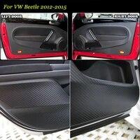 4pcs new interior carbon fiber doors side edge anti kick protection pad sticker for vw beetle 2012 2015
