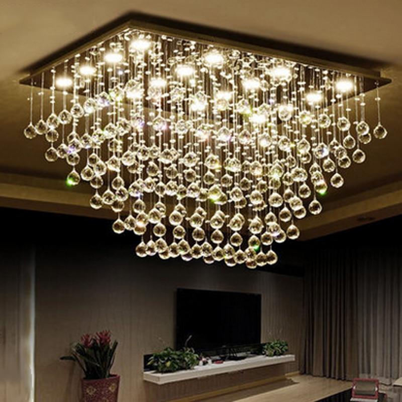 Z moderne LED clair k9 cristal lustre salon suspension lampe Rectangle Design chambre Hall lustre luminaire lampes
