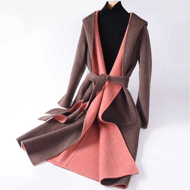 Nuevo abrigo de lana para mujer, chaqueta de invierno de alta calidad, chaqueta fina de Cachemira larga para mujer, chaqueta elegante y delgada
