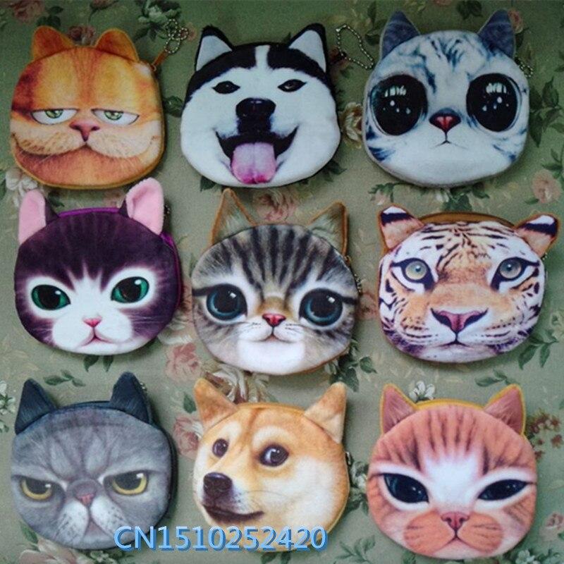 3D сумка-кошелек для девочек, женские Мини-сумочки с молнией на лице и кошкой, Детский кошелек с собачкой, плюшевый Кошелек для монет, monedero gato
