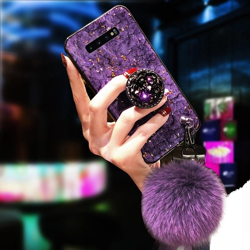 Эпоксидная Золотая фольга драгоценный камень чехол для Samsung Galaxy S10 S9 S8 Plus Note 10 9 8 A10 A20 A30 A50 A70 A80 S7 край кольцо держатель ремешок крышка