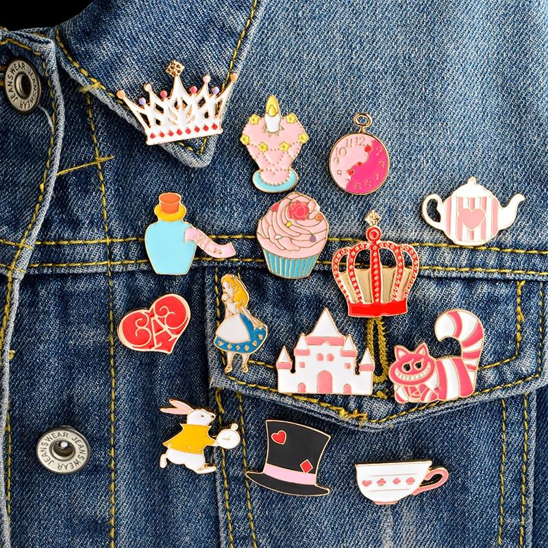 14PCS/SET  Alice in Wonderland Enamel pin set Brooch set Cat Tea cup Alice Crown Tea pot Palace Alice in Wonderland jewelry