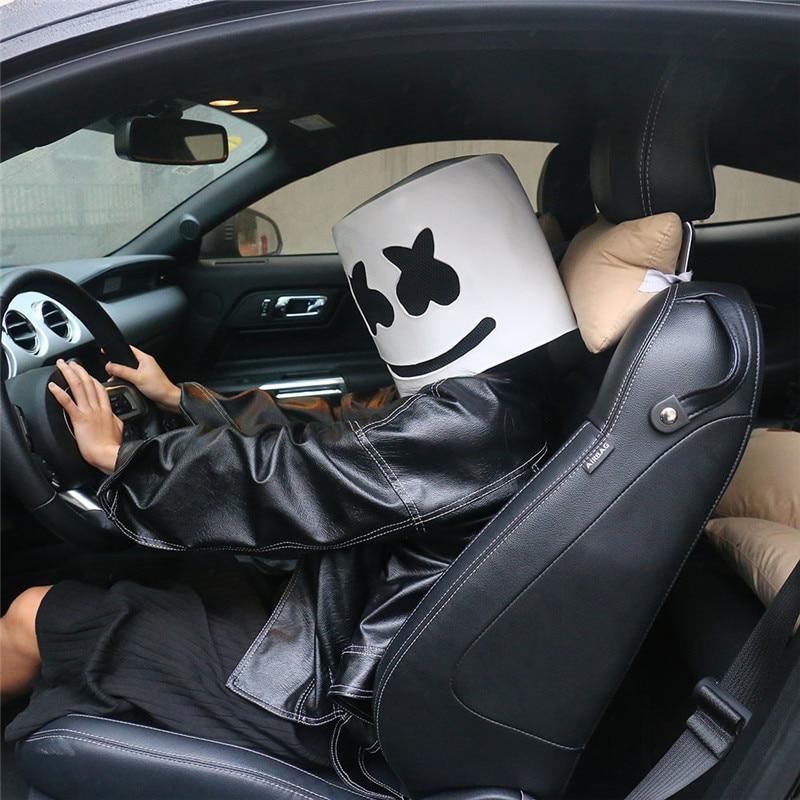 1pcs Marshmello Latex Helmet Head Mask Funny Cosplay Costume Headwear Accessory Halloween Carnival DJ Mask Party Props