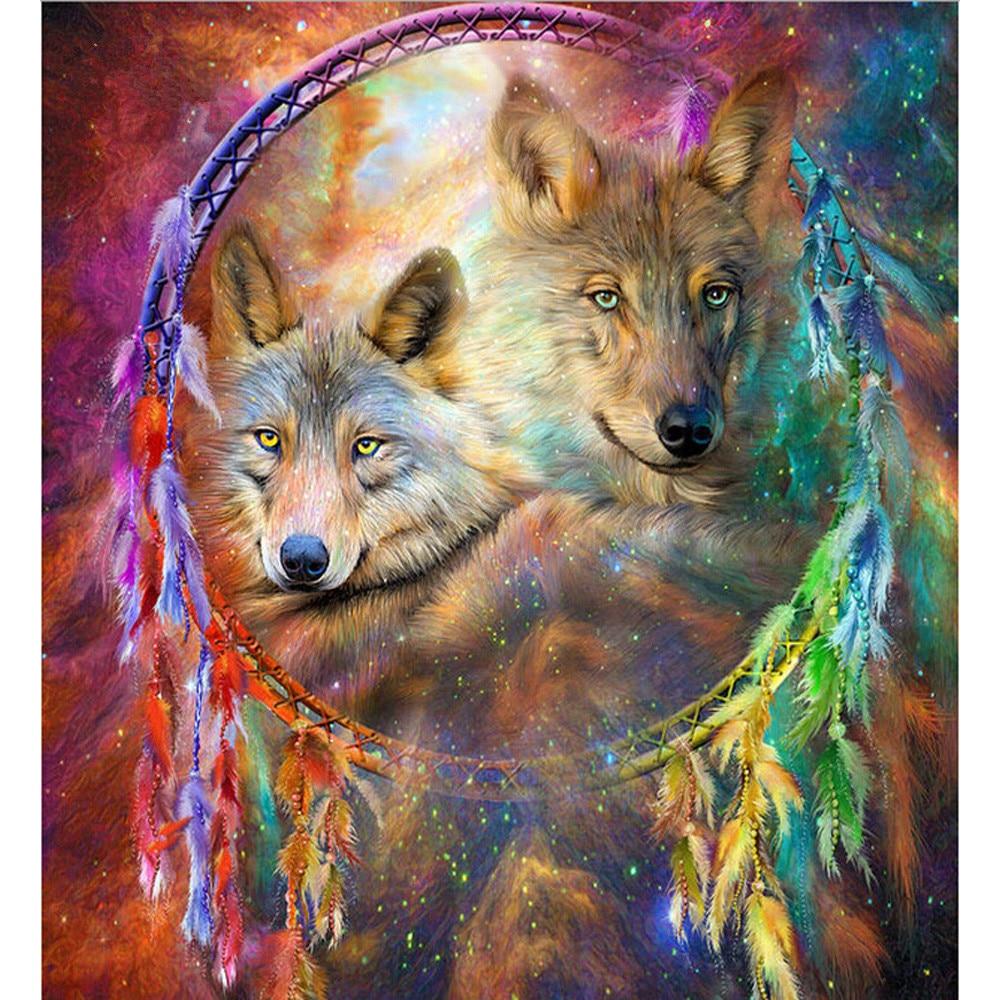 Icono diamante bordado Lobo mosaico cristal 5D Cruz puntada diamante pintura colorida pluma DIY pegatina decoración pinturas
