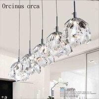Nordic modern simple personality LED Crystal hanging lamp single head three Restaurant Bar bedroom lighting