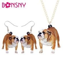 Bonsny Acrylic Jewelry Sets English Bulldog Dog Necklace Earrings Fashion Pendant For Women Girls Lovers Gift Decoration NE+EA