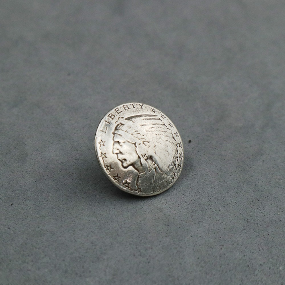 DIY Leathercraft Hardware 606309S-22 Indian Half-Dollar Coin Concho Antique Silver