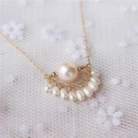 gold filled necklace chocker natural freshwater pearls jewelry vintage minimalism handmade bijoux femme collier women necklace