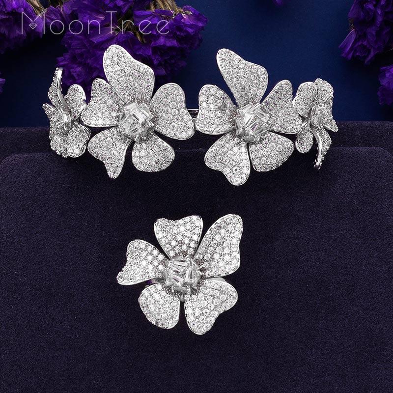 MoonTree цветочный венок с листом роскошный фианит женский свадебный набор украшений Naija Дубай для вечеринки помолвки