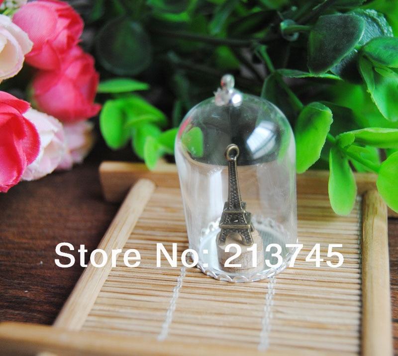 Freeshipping Nice 38*25mm Glass globe & silver lace base& 6mm cap Set DIY glass bottle vial pendant  DIY glass cover