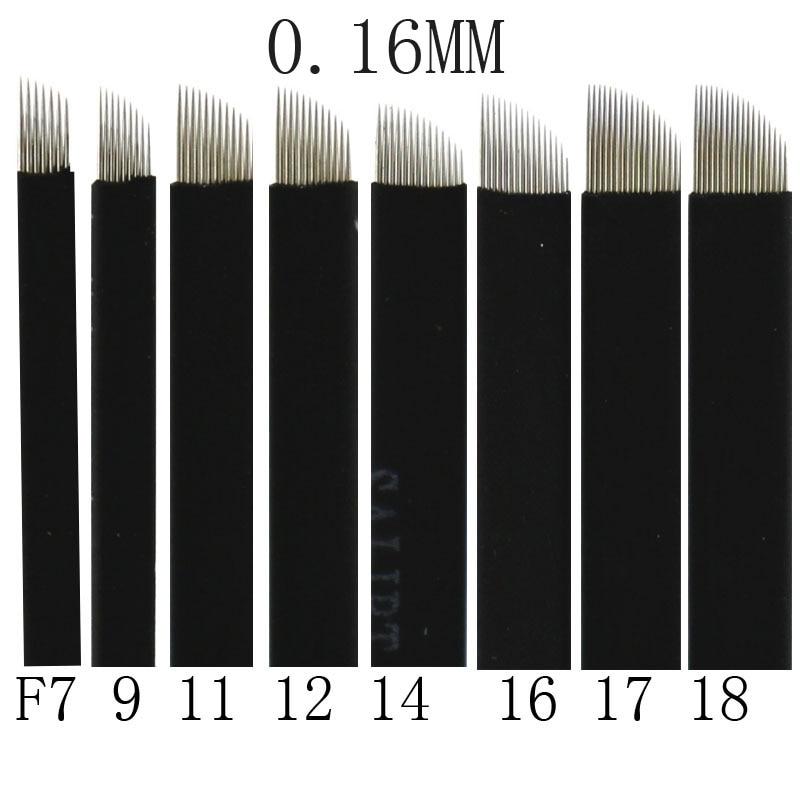 100 Uds 0,16mm negro bisel 7/9/11/12/14/16/17/18/21 Flex Microblading hoja maquillaje permanente Manual ceja del tatuaje aguja