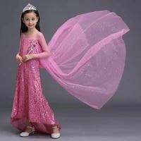 abgmedr brand 2018 new children sequins clothing girls elsa princess dress kids blue cloak elsa queen cosplay aurora costume