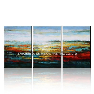 Best Buy Gift Hand Painted Modern Abstract Oil Painting On Canvas for Hotel Decoration Set of 3 Landscape Picture Knife Painting