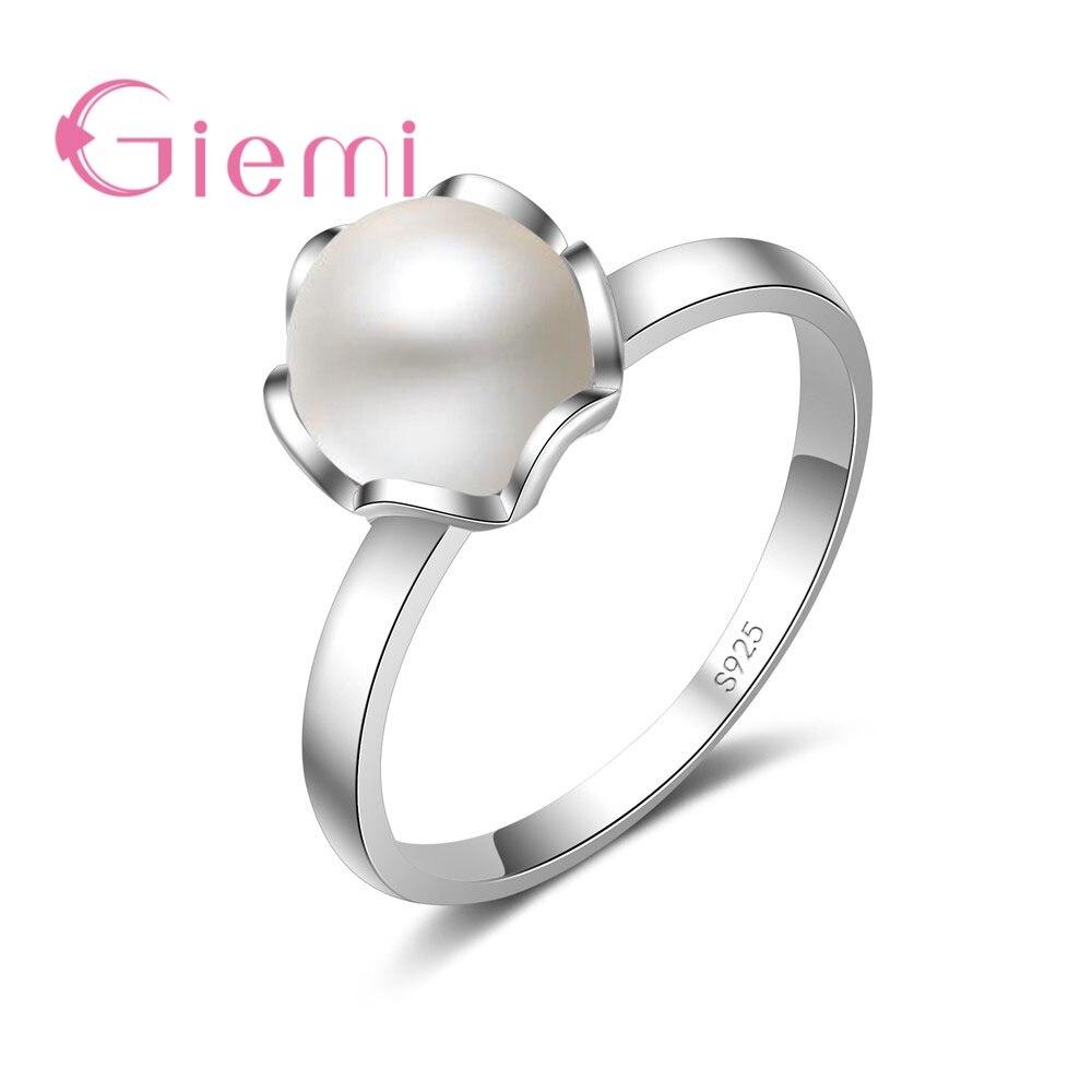 Para mulheres namorada festival presente clássico branco pérola dedo anéis aaa genuíno 925 prata esterlina jóias presente