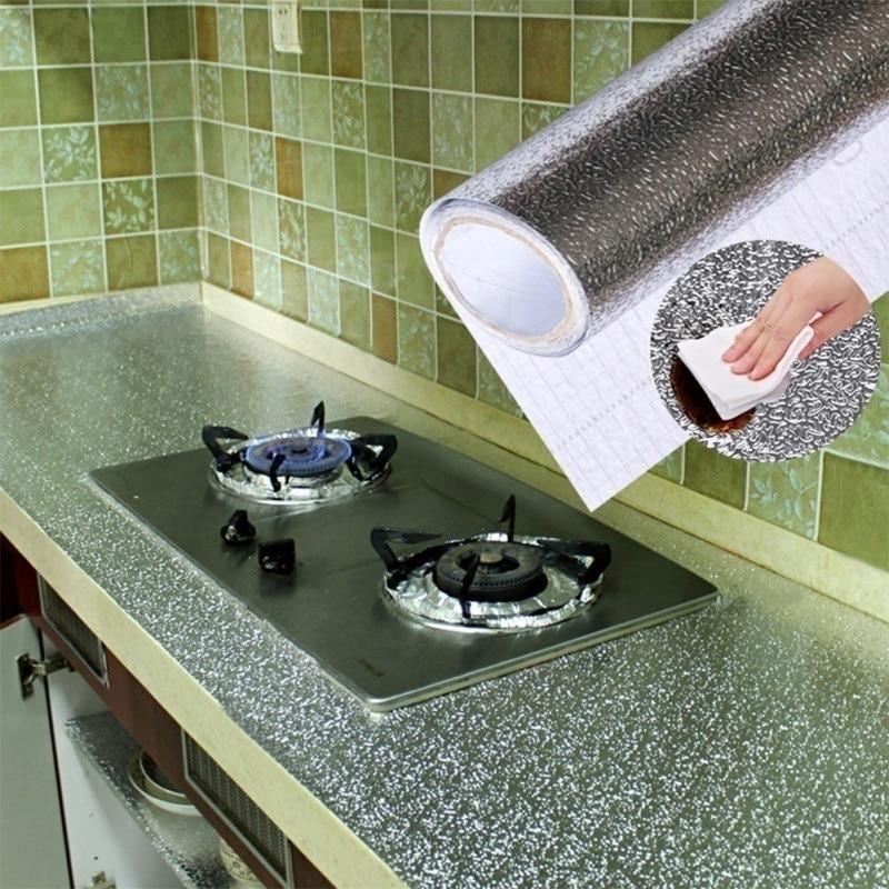 40X100CM Kitchen Oil-proof Aluminum Foil Sticker Wall Desk Floor Waterproof DIY Home Furniture Decorate Foil Style Wallpaper