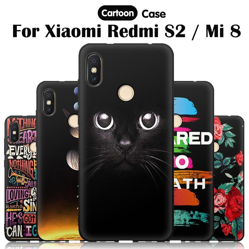 JURCHEN, funda para Xiaomi Mi 8 Mi8 caso de suave silicona de dibujos animados lindo flor funda trasera suave TPU para Xiaomi Redmi S2 S 2 casos de teléfono