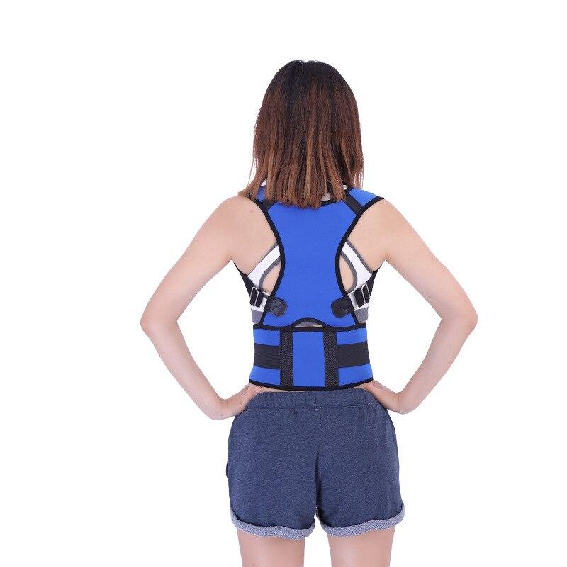 Corsé Corrector de postura ajustable azul para hombre y mujer, cinturón de espalda Lumbar, Corrector recto de apoyo para niños
