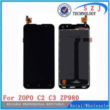 جديد 5 بوصة ل ZOPO C2 C3 ZP980 شاشة الكريستال السائل محول الأرقام شاشة تعمل باللمس الزجاج 1920*1080 FHD الأسود والأبيض شحن مجاني
