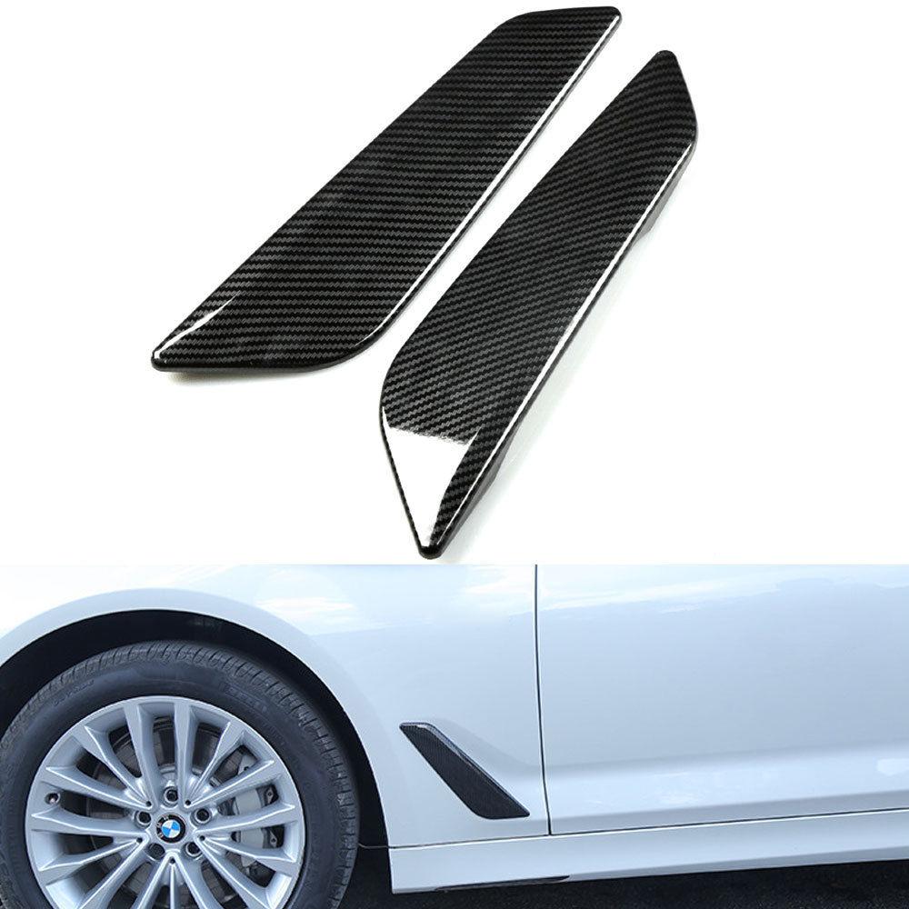 Couvercle dadmission de flux dair   Aile latérale de voiture, garniture en Fiber de carbone chromé, Badge décoratif de capot pour BMW 5 Series G30 G31 2017 2018