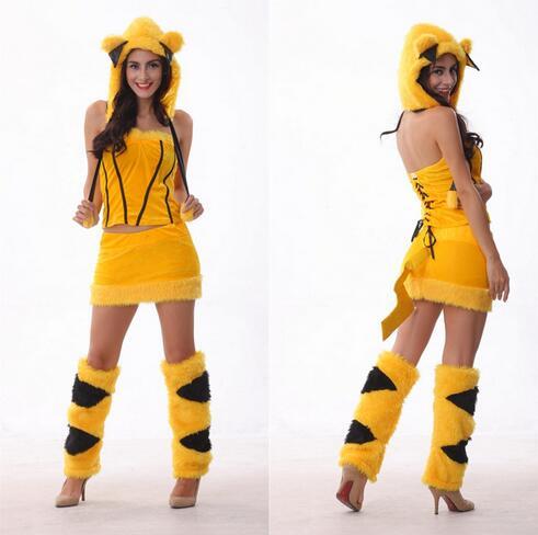Disfraz Sexy de Pikachu para adultos, disfraz de Animal para Halloween, Navidad, CE322
